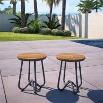 Novogratz 88199CNO2E Poolside Bobbi Outdoor Bistro Stools, 2 Pack, Charcoal Gray
