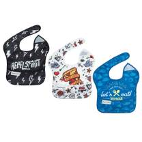 Tiny Twinkle Mess-Proof Easy Bib 3 Pack - Rebel, Pizza, Let's Eat Set - BPA Free flip Pocket Waterproof Baby bib for Infants and Toddlers 6-24 Months