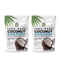 Earth Circle Organics   Pure Young Dried Coconut Water Powder   Hydration   Energy and Electrolyte Supplement   No Additives   Unsweetened   Natural Keto Water Enhancer   Vegan   Gluten Free (2 Pack)