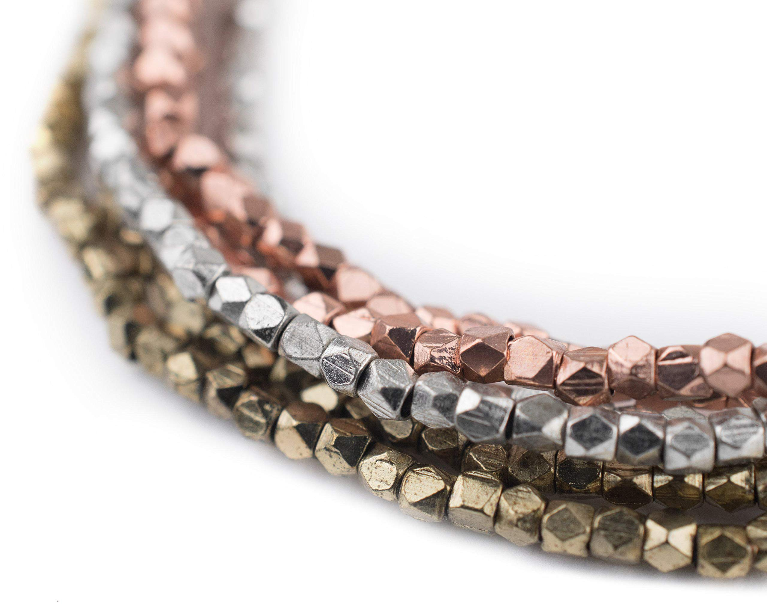 TheBeadChest 3 Strand Bundle: Diamond Cut Beads 2mm Silver, Brass, Copper Multicolor Faceted 24 Inch Strand