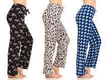 Women's Super-Soft Plush Fleece Pajama Bottoms/Printed Lounge Pants - 3 Pack
