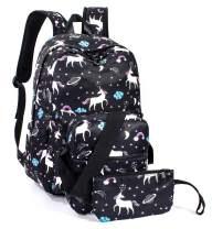 Leaper Unicorn Backpack School Bag Travel Bookbag Shoulder Bag Purse Black