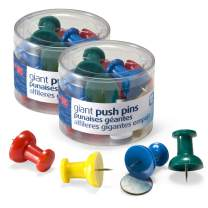 """Officemate Giant Push Pins, 1.5"""" Assorted Colors, 2 Tubs of 12 (92905)"""