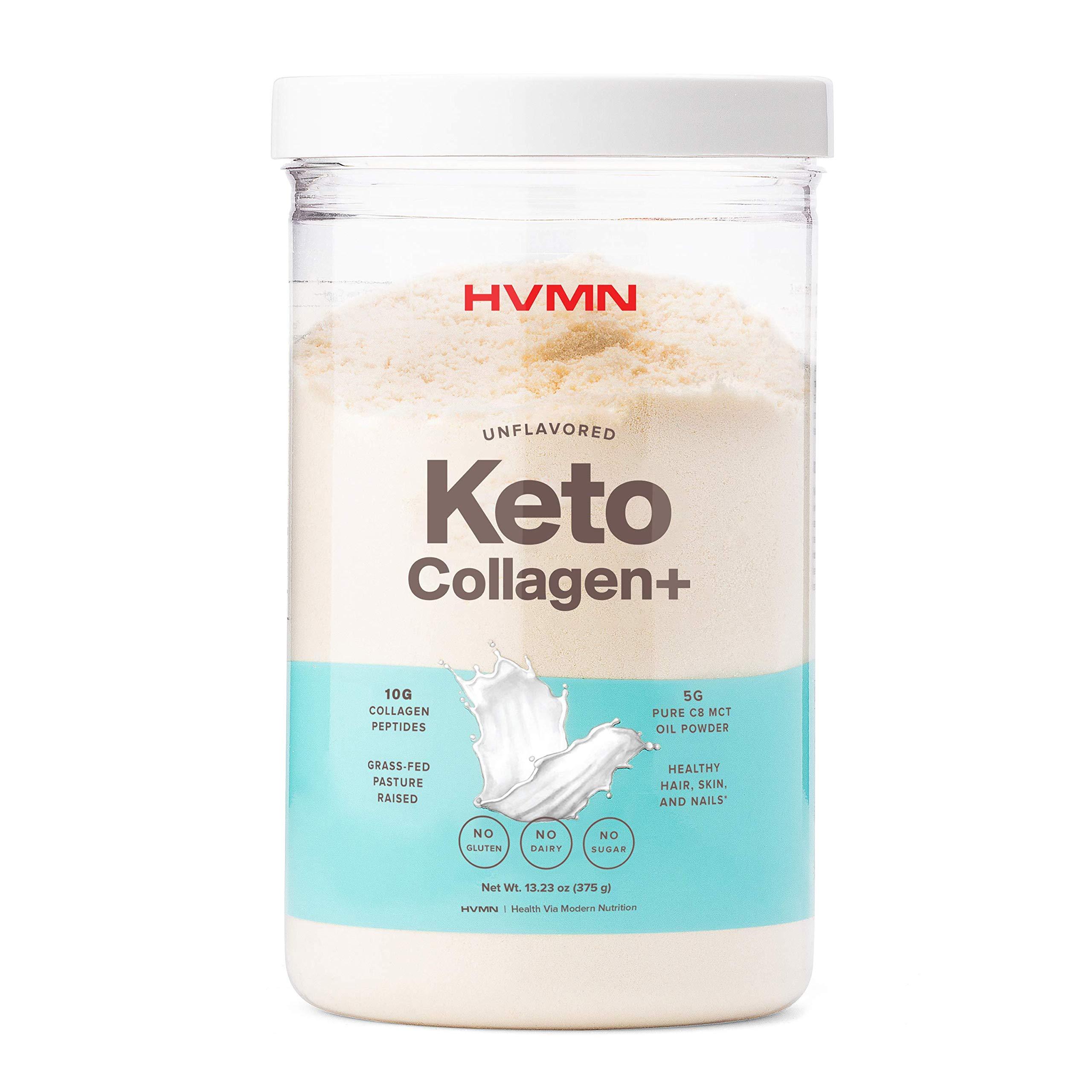 H.V.M.N. Keto Collagen+ Protein Powder: Collagen Supplement with Collagen Peptides & MCT Powder - Keto Diet Approved - 25 Servings (Unflavored)