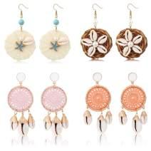 Thunaraz 4Pairs Shell Rattan Straw Wicker Earrings for Women Girls Bohemian Statement Earrings Handmade Braid Woven Dangle Earrings