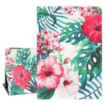 Hepix Tropical iPad 9.7inch Case Red Flowers iPad Air 2 Cases, Palm Leaves Protective iPad Air Case, Lightweight PU Leather Stand with Auto Sleep Wake