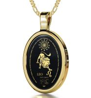"""Leo Necklace Zodiac Pendant for Birthdays 23rd July to 22nd August with Star Sign Constellation and Personality Characteristics Inscribed in 24k Gold on Oval Black Onyx Gemstone, 18"""" Chain"""