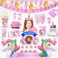 Unicorn Party Supplies - 161 Pieces Rainbow Girls Birthday Supplies Pack with Unicorn Face Masks, Pink Unicorn Headband and a Sash for Birthday Girl, Birthday Party Decorations, Cupcake Toppers, Unicorn Balloons, Pin the Horn on the Unicorn Game and more  Serve 10