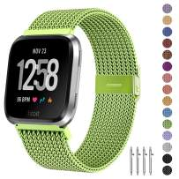 Fitlink Metal Bands Compatible for Fitbit Versa/Versa Lite Edition/Versa 2 Smart Watch for Women and Men,Small and Large, Multi-Color (Green, Small)