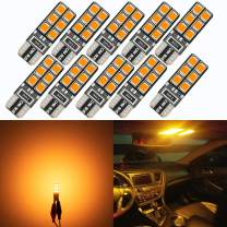eagofar 194 T10 2825 W5W LED Bulb 168 LED Replacement Bulbs, 400LM Extremely Bright for Car License Plate Interior Map Dome Trunk Door Courtesy Lights Bulbs, 12-24V, Amber (Pack of 10)