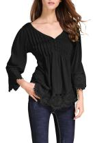 OMZIN Women's Flare Sleeve Lace Splice Loose Casual Blouse T-Shirt Tops