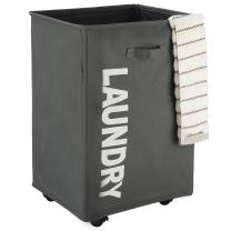 """CAROEAS 22"""" Pro ROLLING Laundry Cart White&Grey Clothes Hamper Mesh Cover Laundry Storage Cart Collapsible Laundry Basket Flexible Thin Laundry Hamper with Wheels For Family Laundry (Pro 22"""",Grey)"""