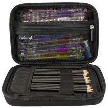 ColorIt Large Pencil Box Case Storage for Colored Pencils, Gel Pens, Markers, Brushes, Craft Supplies - [New Black Label] Semi-Hard EVA Carrying Pouch Case Only (Black)