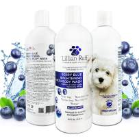 Lillian Ruff Berry Blue Brightening Face and Body Wash for Dogs and Cats - Tear Free Blueberry Shampoo - Remove Tear Stains, Hydrate Dry Itchy Skin, Add Shine & Luster to Coats - Made in USA (16oz)
