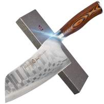 """TUO Cutlery Cleaver Knife - Japanese AUS-10 Damascus Steel - Chinese Chef's Knife for meat and vegetable with Ergonomic Pakkawood Handle - 7"""" - Fiery Phoenix Series"""