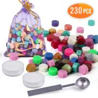 230PCS Multicolor Sealing Wax Beads, with 2PCS Tea Candles and 1 Piece Wax Melting Spoon, LotFancy Octagon Wax Seal Kit for Sealing Stamps, Envelopes, DIY Wedding Invitations, Letters, Gift Wrapping