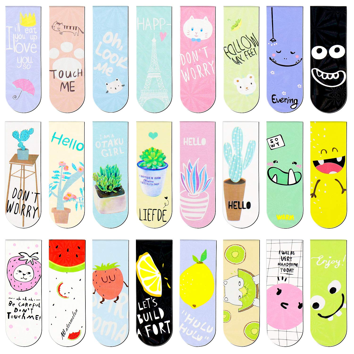 Meetory 24 Pieces Magnetic Bookmarks Diverse Style Cute Magnetic Page Clips Markers for Student Office Reading Stationery