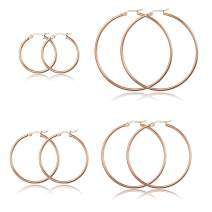 ORAZIO 4 Pairs Large Hoop Earrings for Women and Girls Stainless Steel Big Circle Earrings Hoop Diameter 30MM 40MM 50MM 60MM