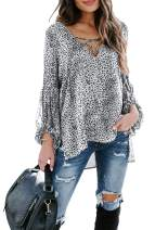 Lovezesent Womens Leopard Chiffon Blouese Lantern Sleeve V Neck Lace Up High Low Tops
