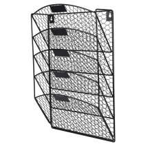TQVAI 5 Tier Wall Hanging File Holder Chicken Wire Wall Mount File Rack Folders, Black