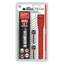 Maglite Mini LED 2-Cell AA Flashlight with Holster, Red