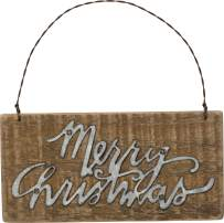 Primitives by Kathy Slat Wood Ornament, 6 x 3-Inches, Merry Christmas