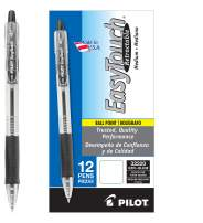 PILOT EasyTouch Refillable & Retractable Ballpoint Pens, Medium Point, Black Ink, 12 Count (32220)