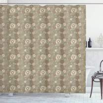"""Ambesonne Abstract Shower Curtain, Circles and Lines with Abstract Composition Hand Drawn Modern Artwork, Cloth Fabric Bathroom Decor Set with Hooks, 84"""" Long Extra, Sage Brown"""