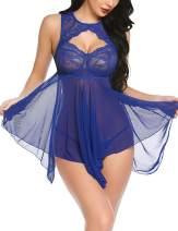 ADOME Lingerie for Women Lace Babydoll Nightdress Sexy Sleepwear Nightie with Keyhole Halter