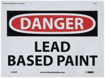 "NMC D299P OSHA Sign, Legend ""DANGER - LEAD BASED PAINT"", 10"" Length x 7"" Height, Pressure Sensitive Vinyl, Black/Red on White"