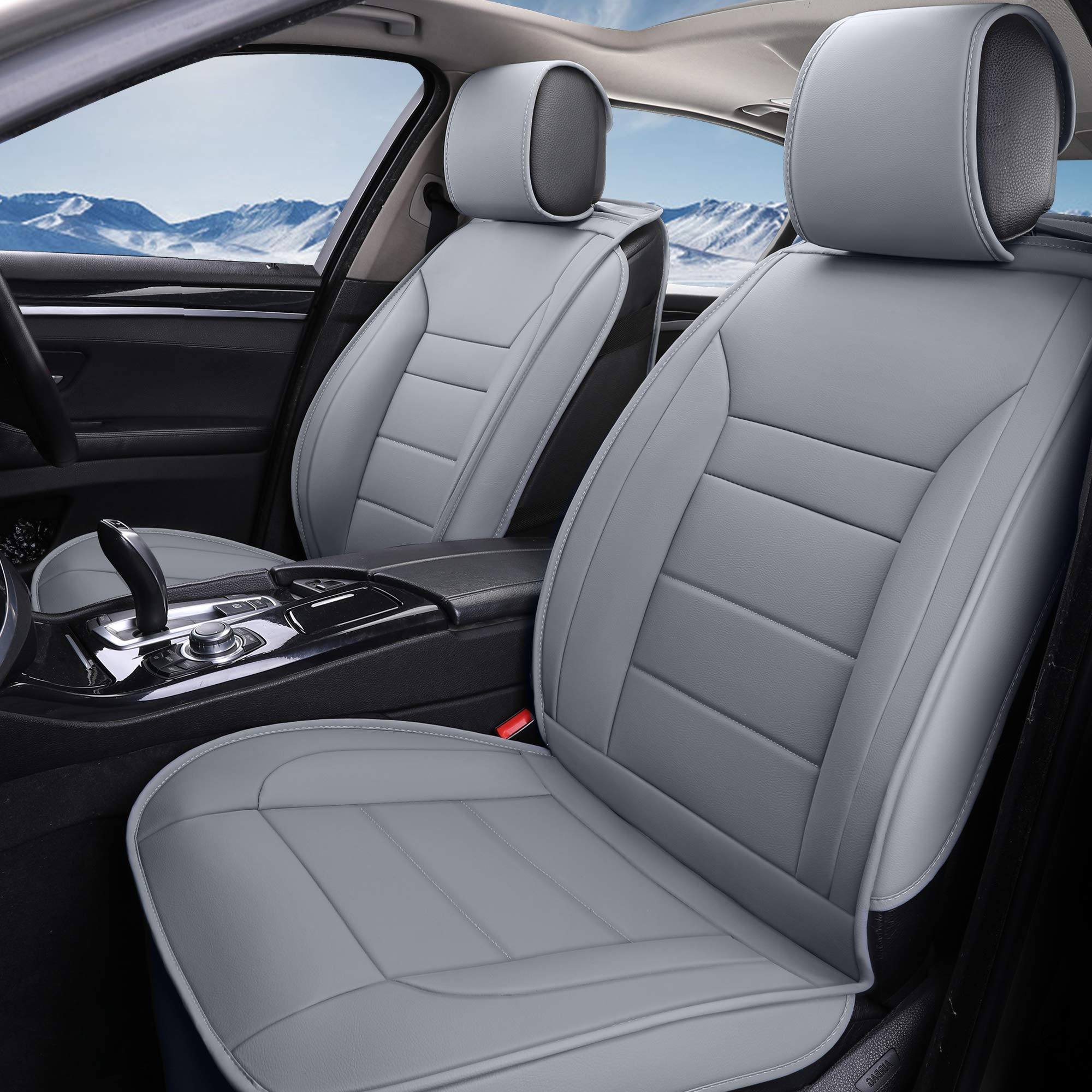 INCH EMPIRE Car Seat Cover-Water Proof Synthetic Leather Cushion Front and Back Universal Fit for Most of Sedan SUV Truck Hatchback Durable Use for All Season(5 Seats Grey Line Full Set)