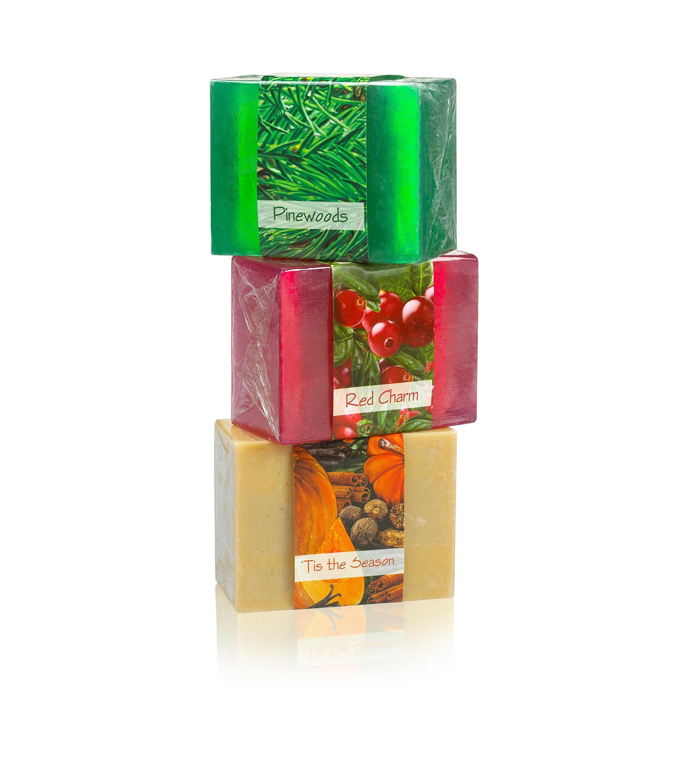Full Bloom Vegetable Glycerin Bar Soap, 3 Bar Sampler Set # 8, Pine Woods, Red Charm, Tis the Season, 4.5oz/127.5g each