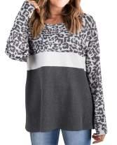 RXRXCOCO Womens Long Sleeve Tops Leopard Print T-Shirt Color Block Blouses Gray-3 Medium
