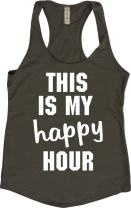 Orange Arrow Womens Workout Tank Tops - This is My Happy Hour - Crossfit Racerback Loose Fit
