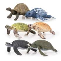 TOYMANY 6PCS Realistic Sea Turtle Figurines, Plastic Ocean Sea Animals Figures Set Includes of Turtles, Educational Toy Cake Toppers Christmas Birthday Gift for Kids Toddlers