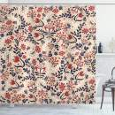 """Ambesonne Floral Shower Curtain, Abstract Art Flowers and Leaves Blossoms Illustration Designed Print, Cloth Fabric Bathroom Decor Set with Hooks, 75"""" Long, White Beige"""