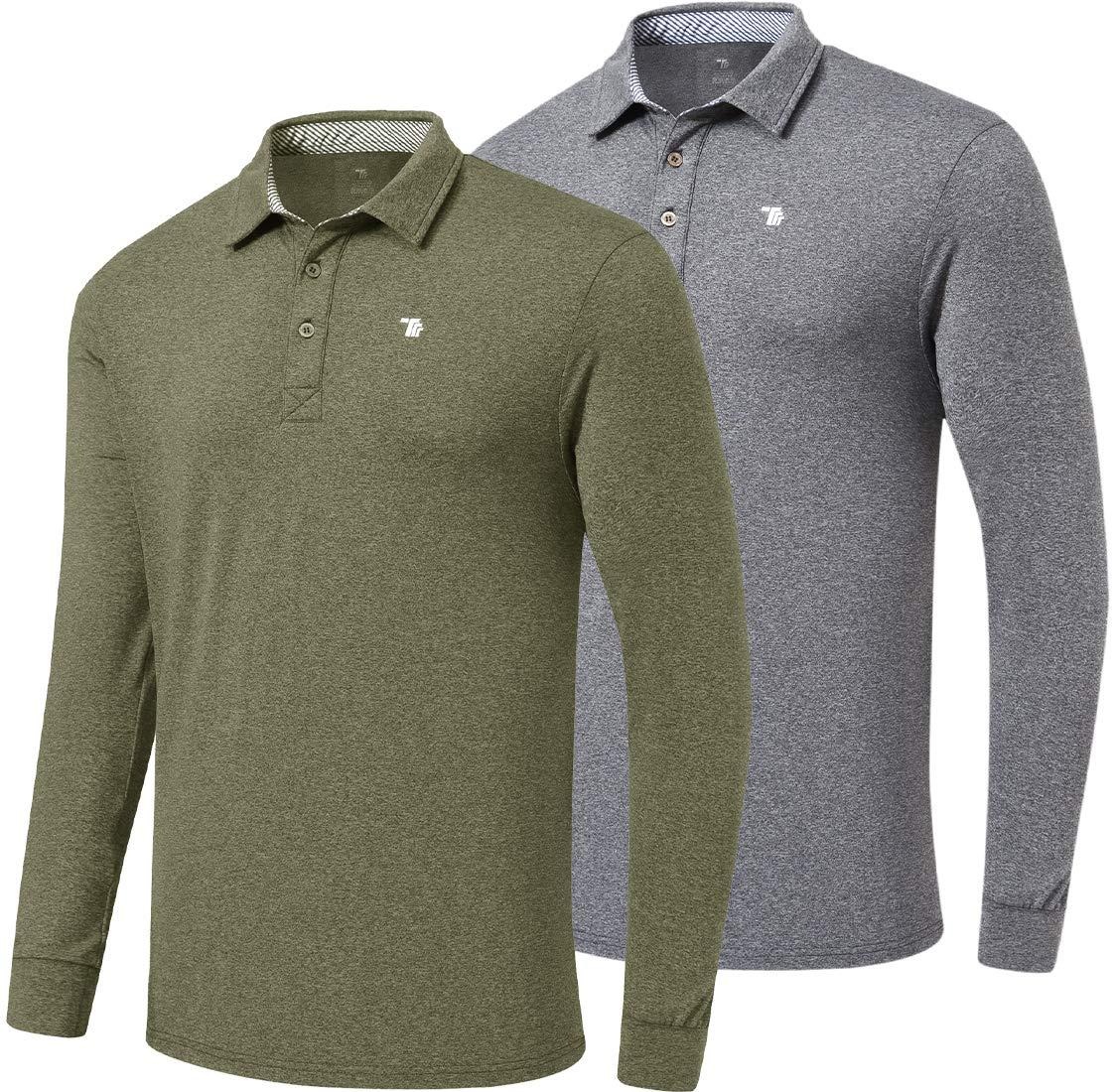 MoFiz Men's Golf Shirt Long Sleeve Polo Shirt Quick Dry Sport Polo Shirts Athletic T-Shirt