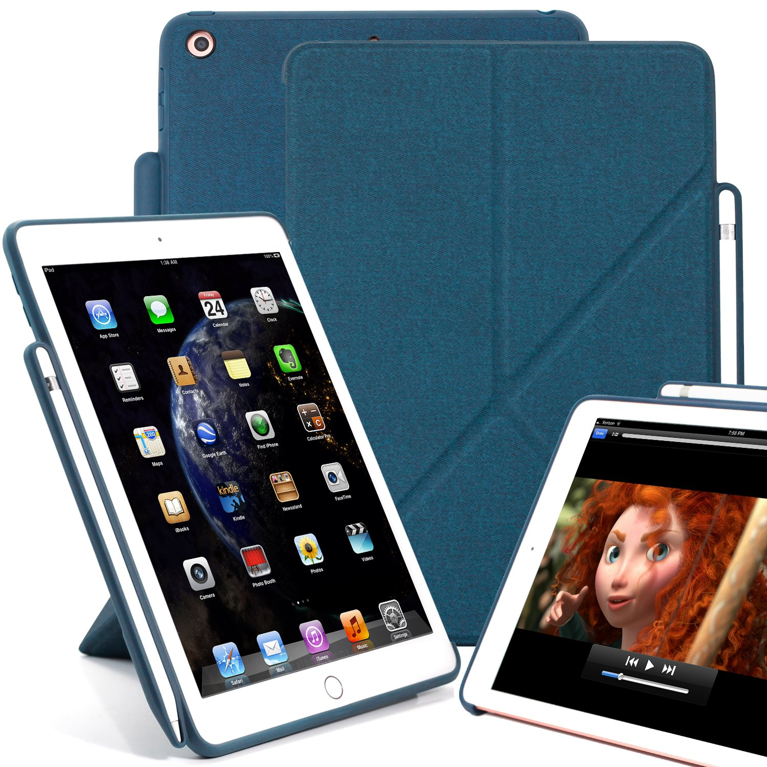 KHOMO Horizontal and Vertical Display Stand Capable Cover iPad 9.7 Inch (2017 & 2018) Case with Pen Holder - Dual Origami Series - Twill Blue