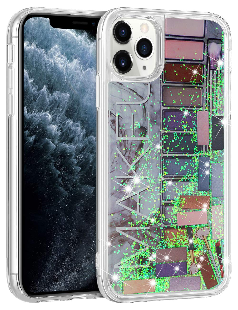 WOLLONY for iPhone 11 Pro Case for Women Girls Cute Eye Shadow Jigsaw Puzzle Makeup Bling Glitter Liquid Heavy Duty Shockproof Protective Cover Soft Bumper Hard Back for iPhone 11 Pro 5.8inch Grey