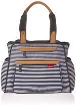 Skip Hop Diaper Bag: Grand Central Take-It-All Tote with Changing Pad & Stroller Attachment, Black & White Stripe