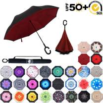 ABCCANOPY Inverted Umbrella,Double Layer Reverse Rain&Wind Teflon Repellent Umbrella for Car and Outdoor Use, Windproof UPF 50+ Big Straight Umbrella with C-Shaped Handle,Burgundy