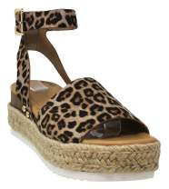 MVE Shoes Womens Sandals Slip On Flatform with Inmitation Cork Bottom Double Straps