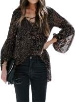 Lovezesent Womens Leopard Chiffon Blouese Lantern Sleeve V Neck Lace Up High Low Tops