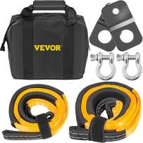 "VEVOR Winch Recovery Kit, 100% Nylon & Forged Steel Snatch Block Kit with Two 1""x 8' & 10000 LBS Heavy Duty Towing Straps & 2 Bow Shackles of 4409 LBS/2000 KG Each Off Road Recovery Gear 6PCS"