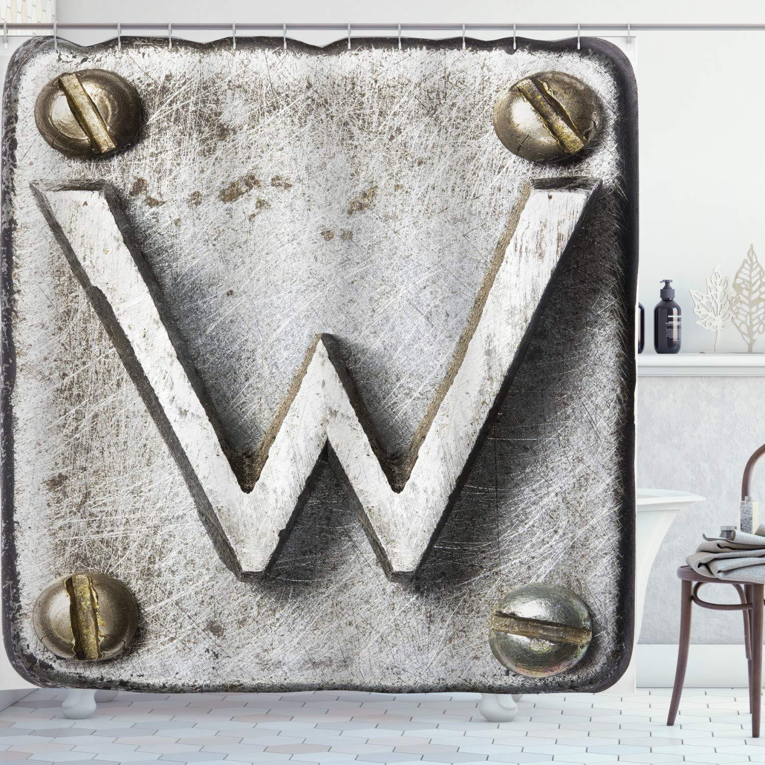 """Ambesonne Letter W Shower Curtain, Uppercase W Bolt Screws Industrial Symbolic Person Initials Image, Cloth Fabric Bathroom Decor Set with Hooks, 70"""" Long, Grey Sepia W"""