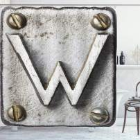 """Ambesonne Letter W Shower Curtain, Uppercase W Bolt Screws Industrial Symbolic Person Initials Image, Cloth Fabric Bathroom Decor Set with Hooks, 75"""" Long, Grey Sepia W"""