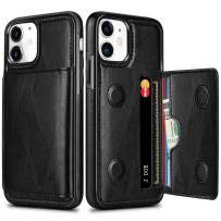 HianDier Wallet Case for iPhone 11 Case with Card Holder PU Leather Kickstand Card Slots Cover Protective Magnetic Closure Shockproof Flip Back Case for iPhone 11 6.1-inch, Black