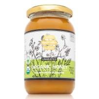 Gideon Spring ORGANIC Raw Honey - 100% Real Pure Bee honey Unfiltered UNHEATED, Natural for Tea (Jar 17.63 ounce) - Premium Exotic Flavor: Organic Wildflower Blossom