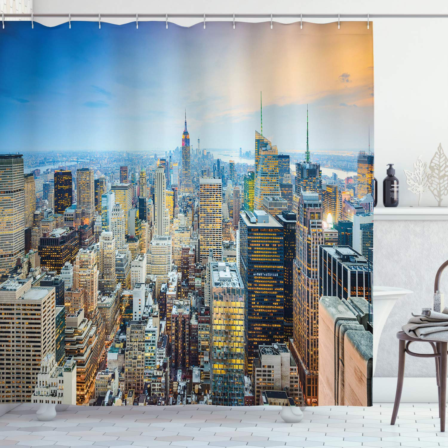 """Ambesonne American Shower Curtain, New York City Aerial with Skyscrapers Manhattan Urban Architecture Panorama, Cloth Fabric Bathroom Decor Set with Hooks, 84"""" Long Extra, Silver Blue"""