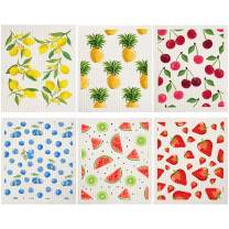 Mixed Fruit Swedish Dishcloths Reusable Dish Towels Absorbent and Fast Dry Cleaning Cloths for Kitchen Blueberry Cherry Strawberry Lemon Pineapple Watermelon Cleaning Wipes (6)